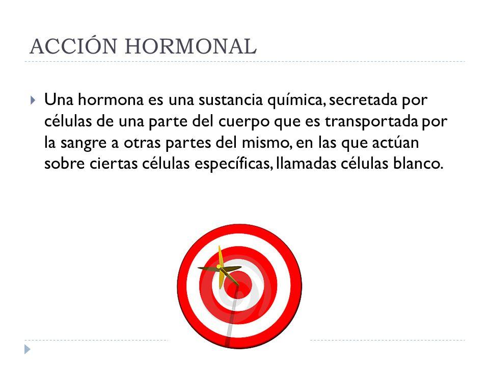 ACCIÓN HORMONAL Una hormona es una sustancia química, secretada por células de una parte del cuerpo que es transportada por la sangre a otras partes d