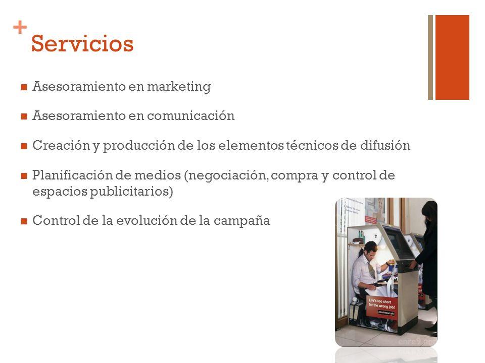+ Servicios Asesoramiento en marketing Asesoramiento en comunicación Creación y producción de los elementos técnicos de difusión Planificación de medi