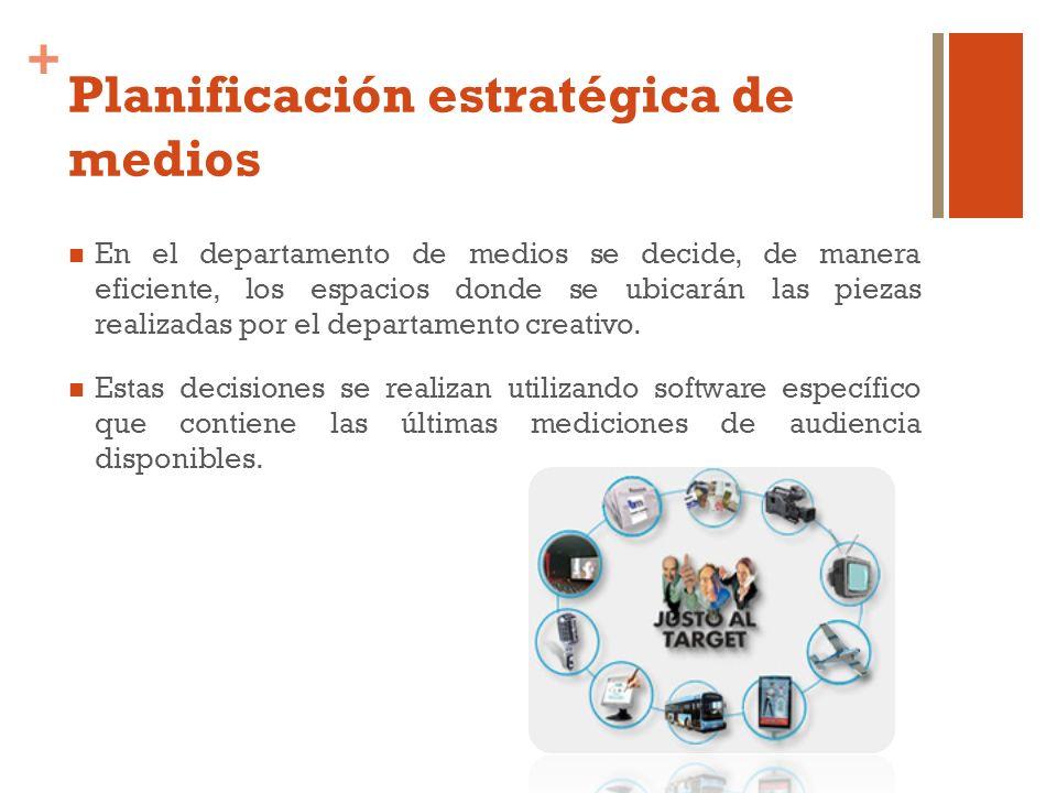 + Planificación estratégica de medios En el departamento de medios se decide, de manera eficiente, los espacios donde se ubicarán las piezas realizada