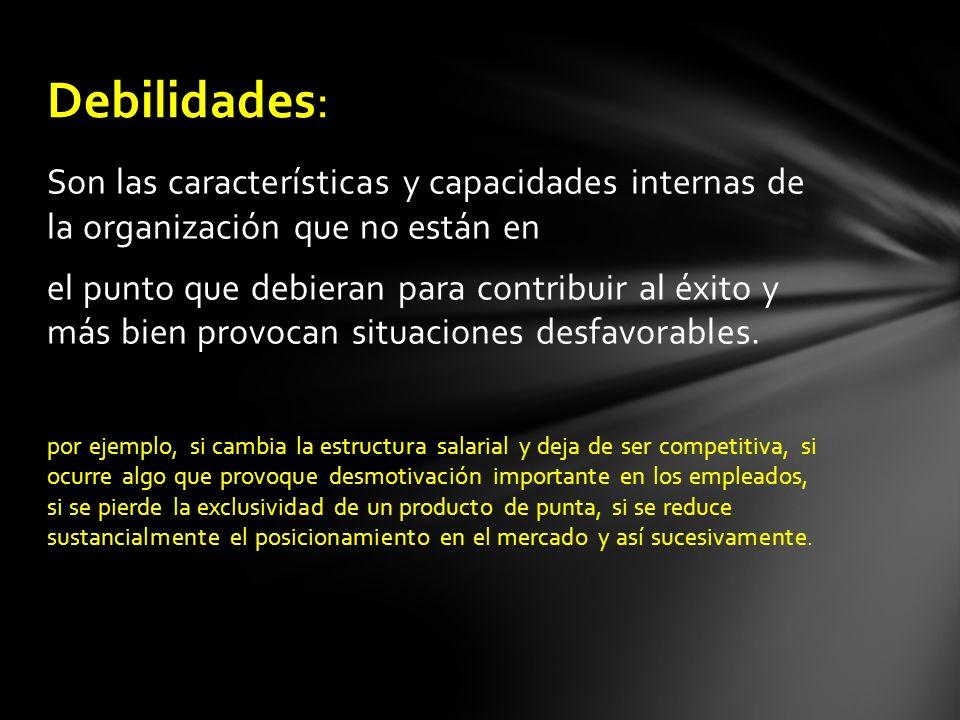 Son las características y capacidades internas de la organización que no están en el punto que debieran para contribuir al éxito y más bien provocan s