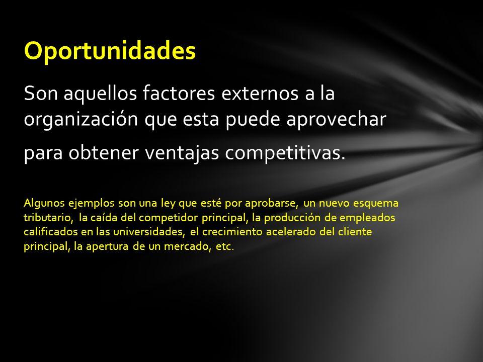 Son aquellos factores externos a la organización que esta puede aprovechar para obtener ventajas competitivas. Algunos ejemplos son una ley que esté p