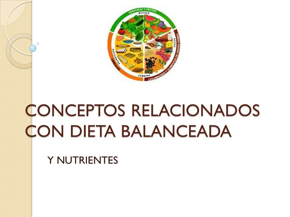 CONCEPTOS RELACIONADOS CON DIETA BALANCEADA Y NUTRIENTES