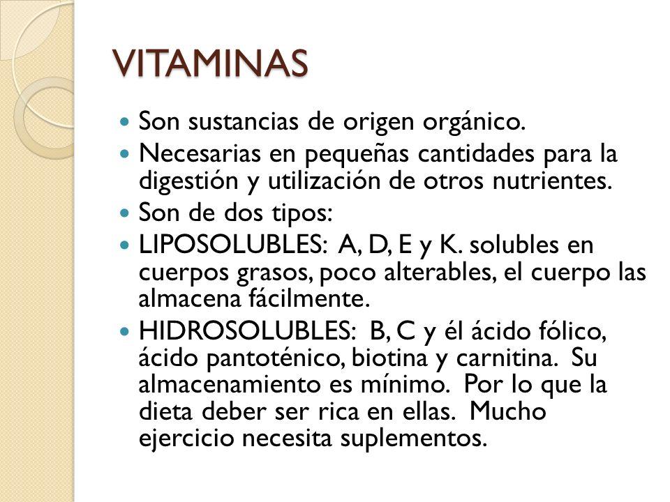 VITAMINAS Son sustancias de origen orgánico. Necesarias en pequeñas cantidades para la digestión y utilización de otros nutrientes. Son de dos tipos: