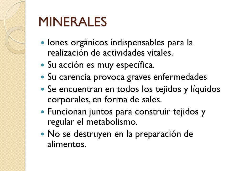 MINERALES Iones orgánicos indispensables para la realización de actividades vitales. Su acción es muy específica. Su carencia provoca graves enfermeda