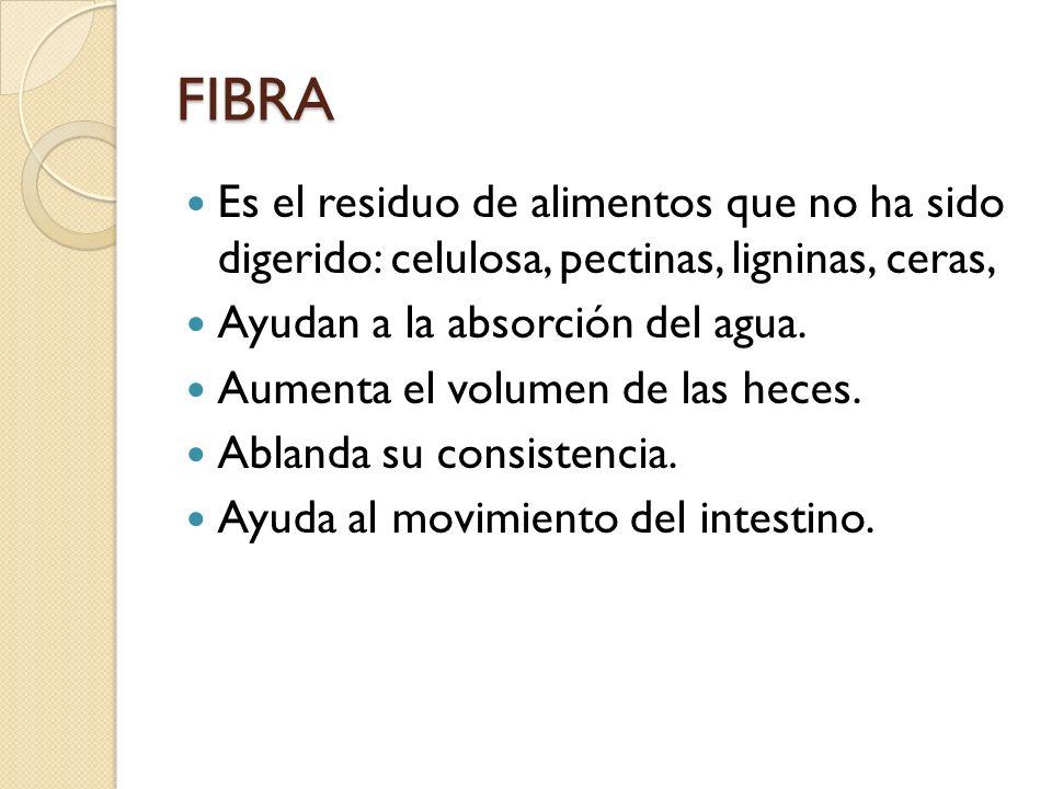 FIBRA Es el residuo de alimentos que no ha sido digerido: celulosa, pectinas, ligninas, ceras, Ayudan a la absorción del agua. Aumenta el volumen de l