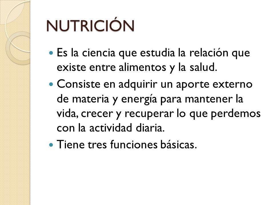 NUTRICIÓN Es la ciencia que estudia la relación que existe entre alimentos y la salud. Consiste en adquirir un aporte externo de materia y energía par