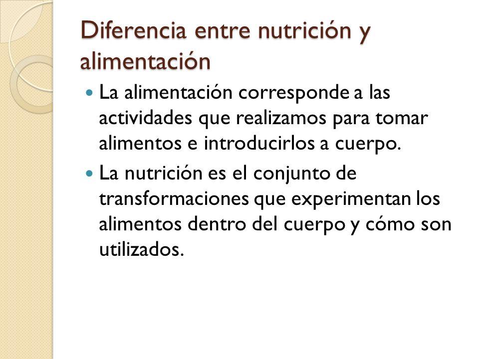 Diferencia entre nutrición y alimentación La alimentación corresponde a las actividades que realizamos para tomar alimentos e introducirlos a cuerpo.