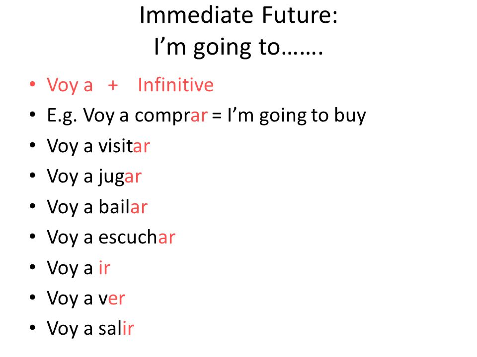 Now translate these into Spanish: 1.Im going to buy a car.