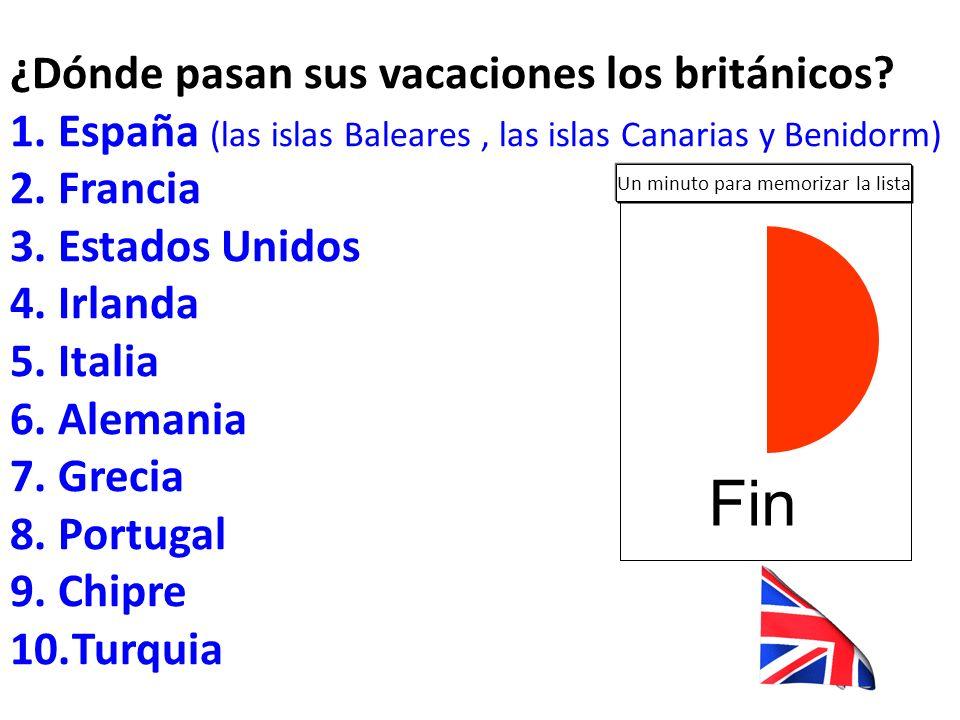 ¿Dónde pasan sus vacaciones los españoles? un 54 por ciento en España un 46 por ciento en el extranjero 1.Italia 2.Estados Unidos 3.Francia 4.Reino Un
