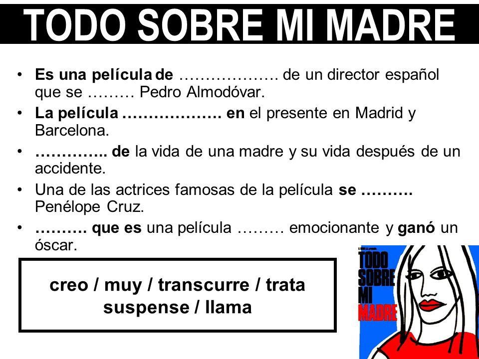 Es una película de ………………. de un director español que se ……… Pedro Almodóvar. La película ………………. en el presente en Madrid y Barcelona. ………….. de la v