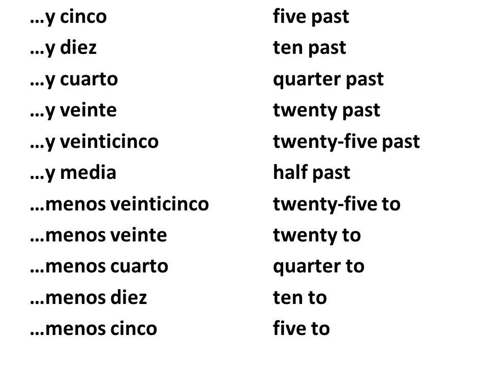 …y cincofive past …y diezten past …y cuartoquarter past …y veintetwenty past …y veinticincotwenty-five past …y mediahalf past …menos veinticincotwenty