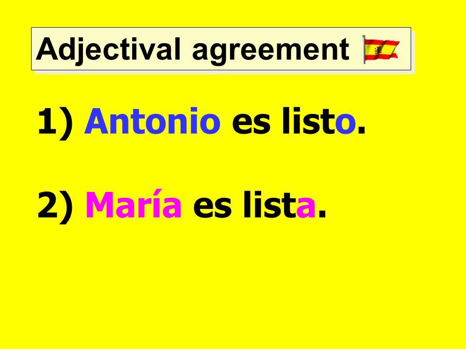 Adjectival agreement 1) Antonio es listo. 2) María es lista.