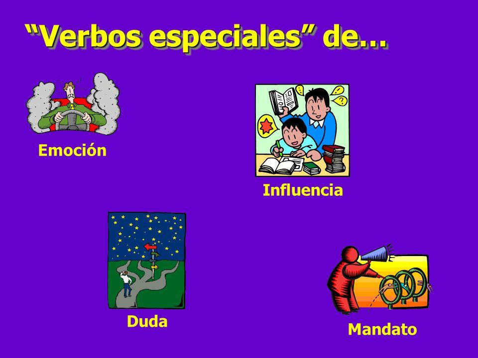 Indicativo Verbo especial Sujeto diferente Subjuntivo Yo necesito QUE mis estudiantes hagan la tarea