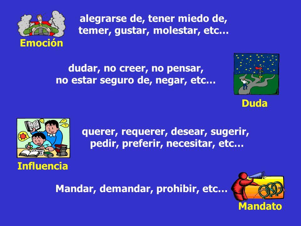 Verbos especiales de… Emoción Mandato Duda Influencia