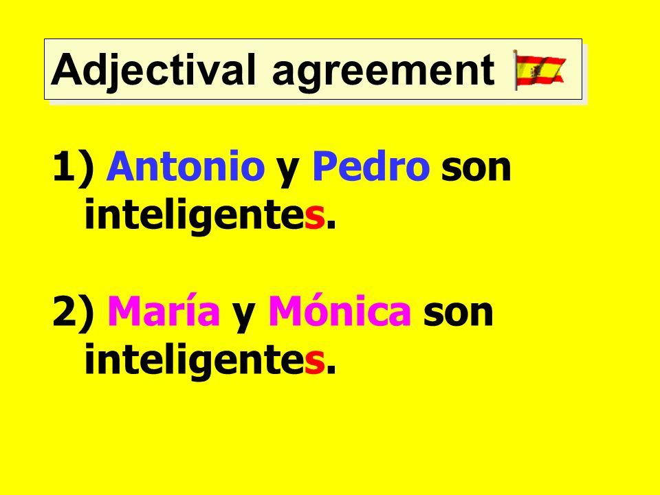 Adjectival agreement 1) Antonio y Pedro son inteligentes. 2) María y Mónica son inteligentes.