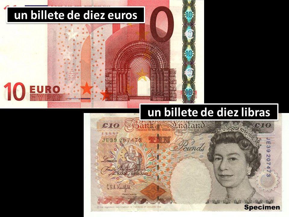 un billete de diez euros un billete de diez libras