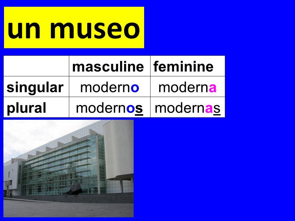 un museo masculinefeminine singularmodernomoderna pluralmodernosmodernas