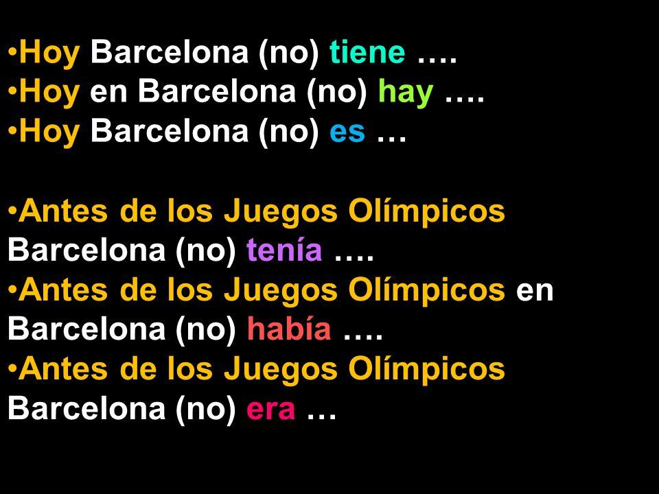 Hoy Barcelona (no) tiene …. Hoy en Barcelona (no) hay ….