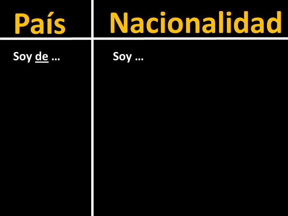 País Nacionalidad Soy de …Soy …