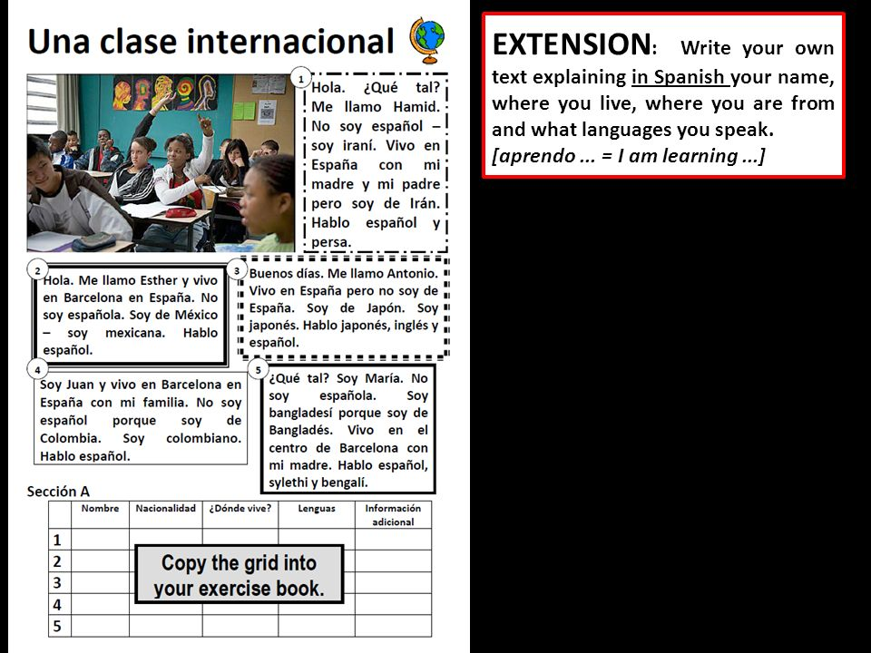 EXTENSION : Write your own text explaining in Spanish your name, where you live, where you are from and what languages you speak. [aprendo... = I am l