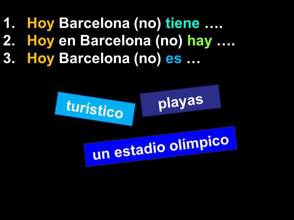 1.Hoy Barcelona (no) tiene …. 2.Hoy en Barcelona (no) hay ….