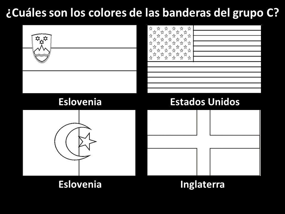 Eslovenia Inglaterra Estados Unidos ¿Cuáles son los colores de las banderas del grupo C?