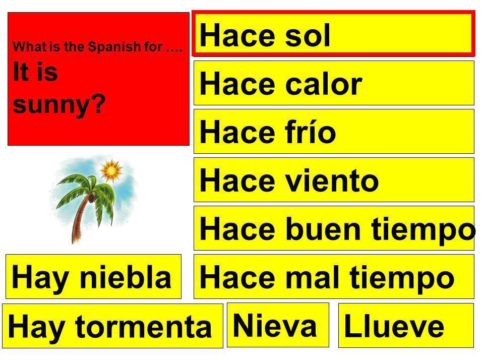 Hace sol Hace frío Hace calor Hace viento Hace buen tiempo Hace mal tiempo Nieva What is the Spanish for ….