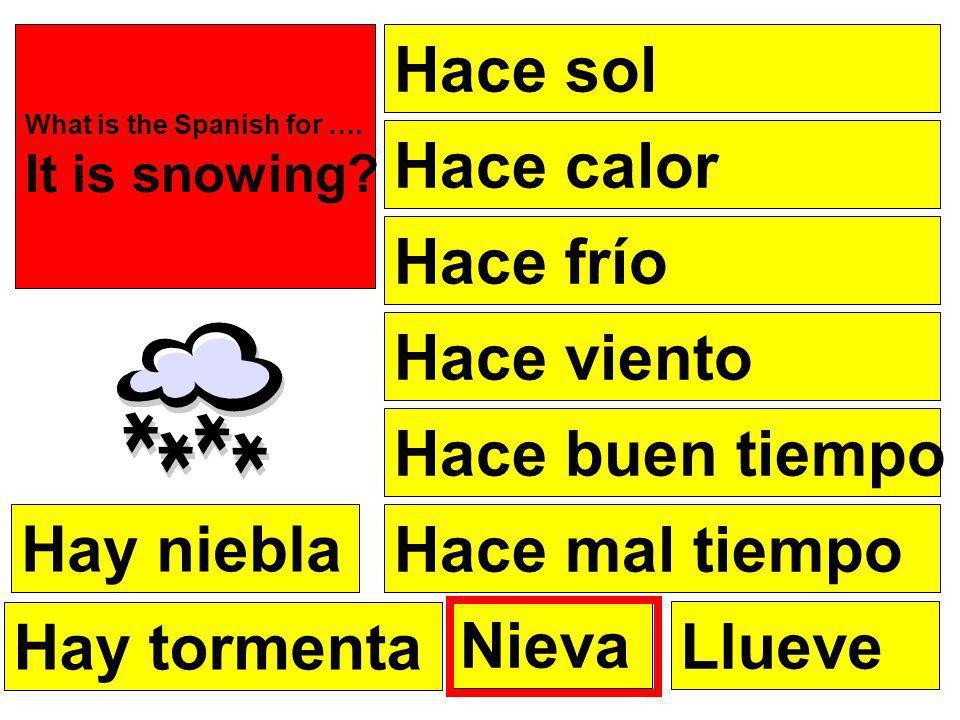 Hace sol Hace frío Hace calor Hace viento Hace buen tiempo Hace mal tiempo What is the Spanish for ….
