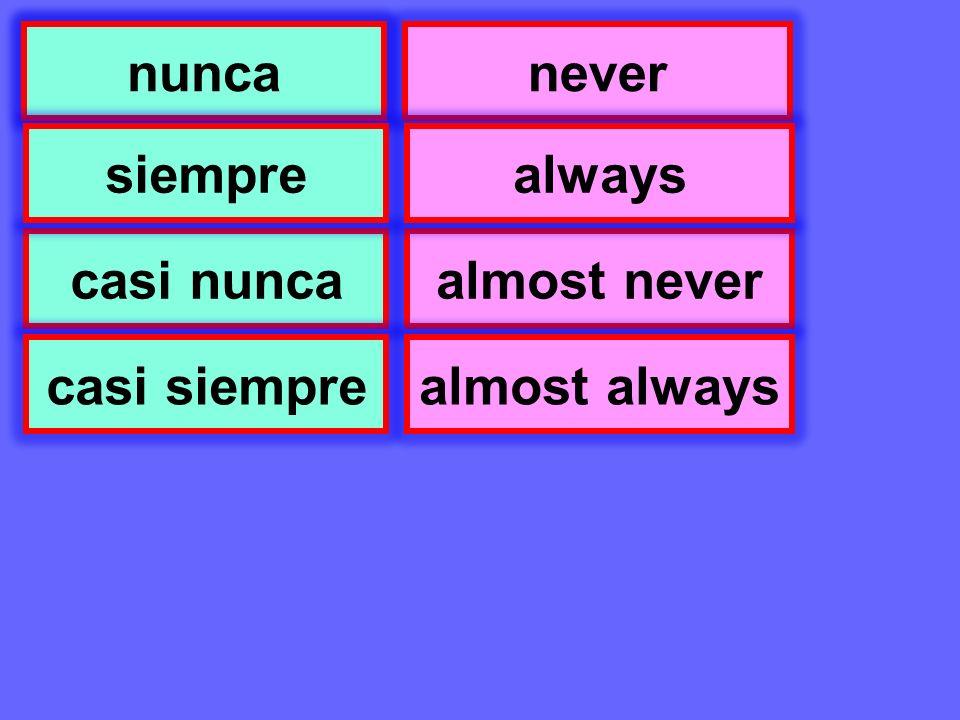Se puede nunca casi nunca siempre casi siempre never almost never always almost always