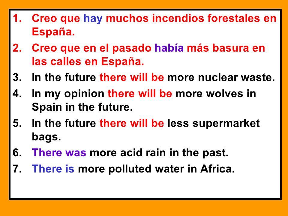 1.Creo que hay muchos incendios forestales en España. 2.Creo que en el pasado había más basura en las calles en España. 3.In the future there will be