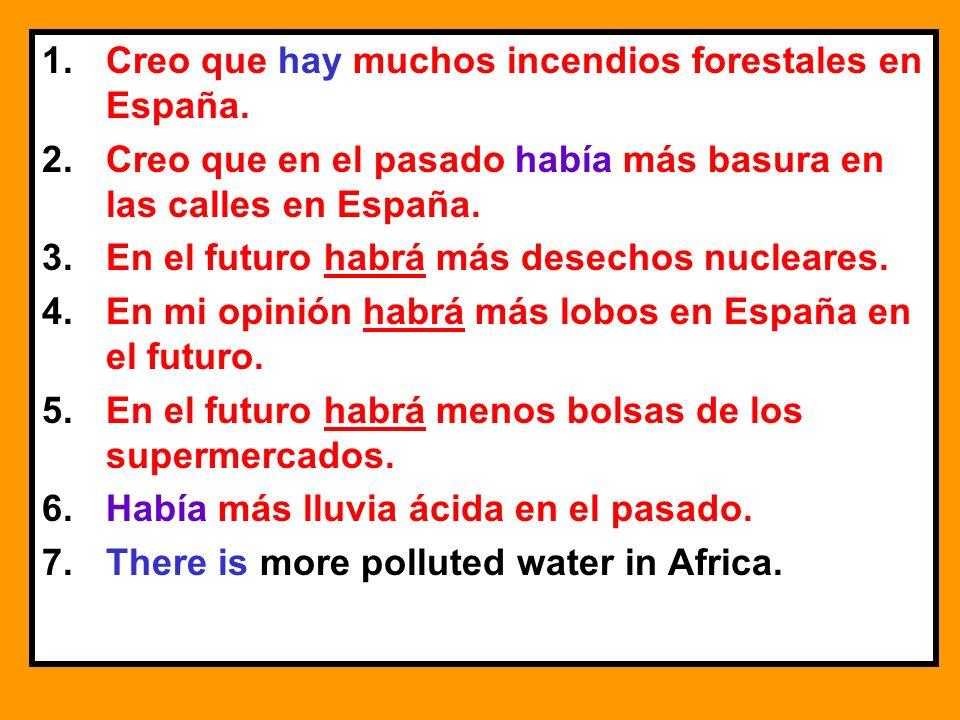1.Creo que hay muchos incendios forestales en España. 2.Creo que en el pasado había más basura en las calles en España. 3.En el futuro habrá más desec