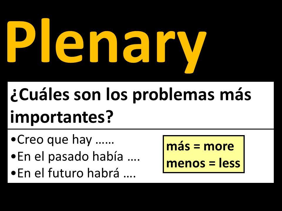 Plenary ¿Cuáles son los problemas más importantes? Creo que hay …… En el pasado había …. En el futuro habrá …. más = more menos = less