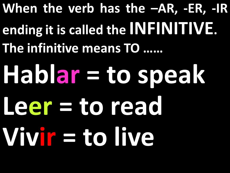 What is the INFINITIVE?