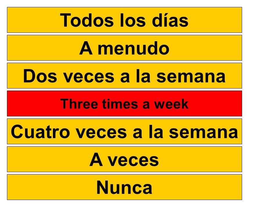 Todos los días A menudo Dos veces a la semana Tres veces a la semana Cuatro veces a la semana A veces Nunca Three times a week