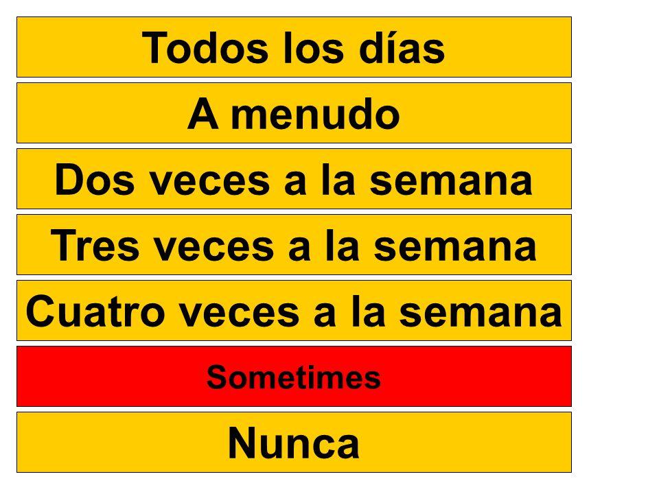 Todos los días A menudo Dos veces a la semana Tres veces a la semana Cuatro veces a la semana A veces Nunca Sometimes