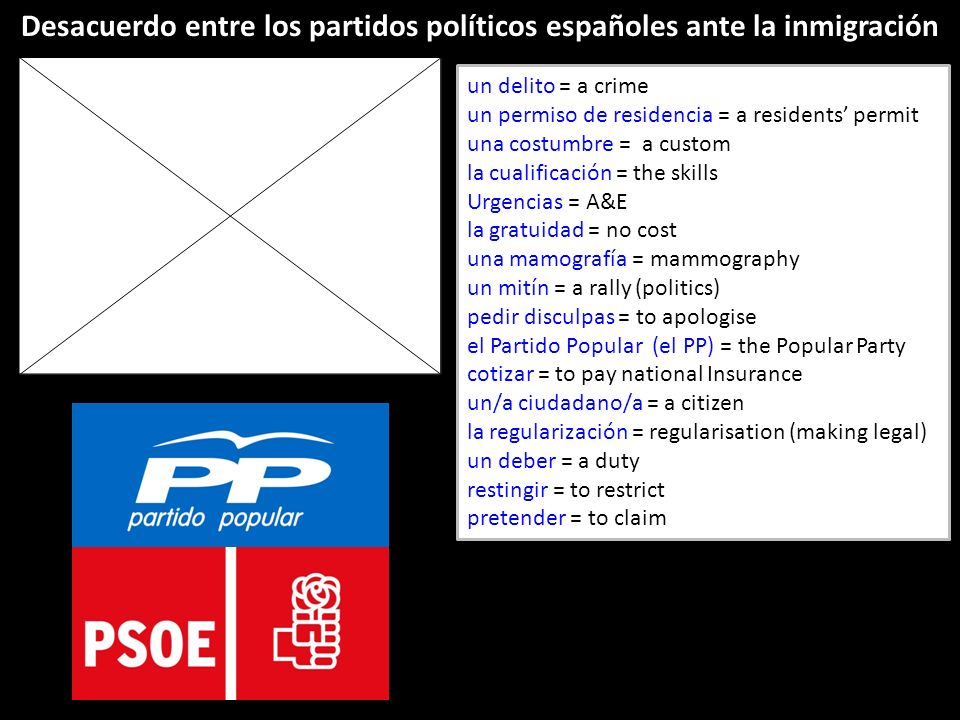 un delito = a crime un permiso de residencia = a residents permit una costumbre = a custom la cualificación = the skills Urgencias = A&E la gratuidad = no cost una mamografía = mammography un mitín = a rally (politics) pedir disculpas = to apologise el Partido Popular (el PP) = the Popular Party cotizar = to pay national Insurance un/a ciudadano/a = a citizen la regularización = regularisation (making legal) un deber = a duty restingir = to restrict pretender = to claim Desacuerdo entre los partidos políticos españoles ante la inmigración