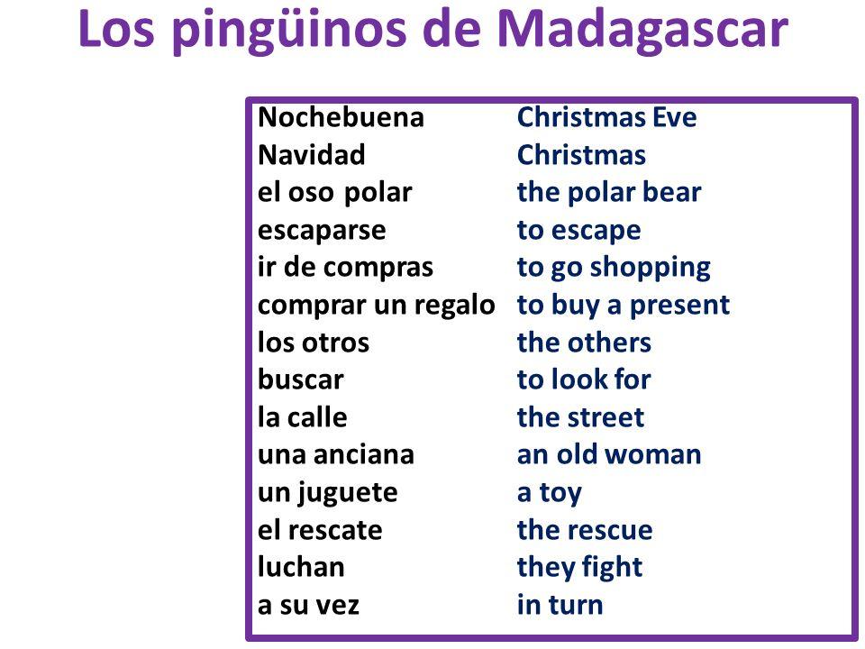 Los pingüinos de Madagascar Nochebuena Christmas Eve NavidadChristmas el oso polarthe polar bear escaparse to escape ir de comprasto go shopping compr