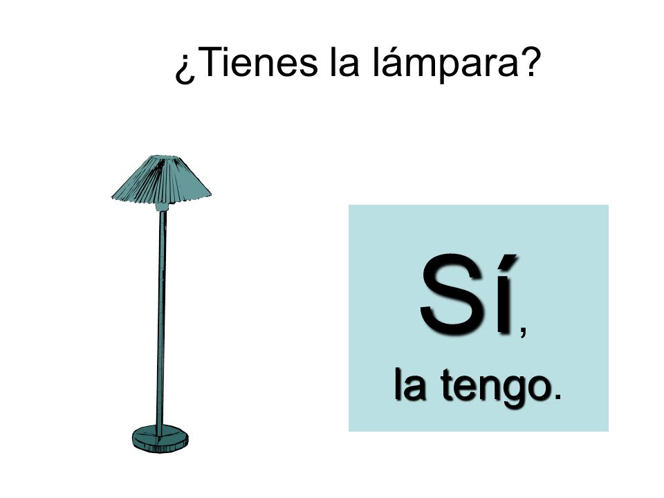¿Tienes la lámpara? Sí, la tengo la tengo.