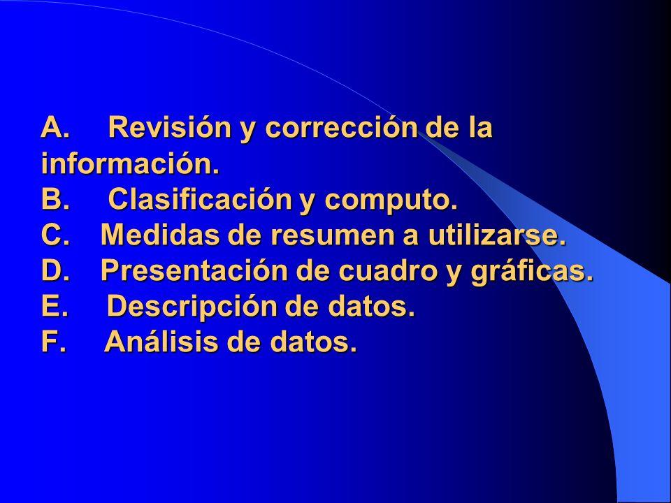 A. Revisión y corrección de la información. B. Clasificación y computo. C. Medidas de resumen a utilizarse. D. Presentación de cuadro y gráficas. E. D