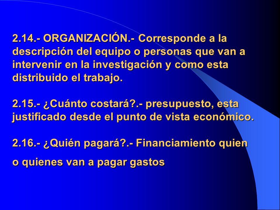 2.14.- ORGANIZACIÓN.- Corresponde a la descripción del equipo o personas que van a intervenir en la investigación y como esta distribuido el trabajo.