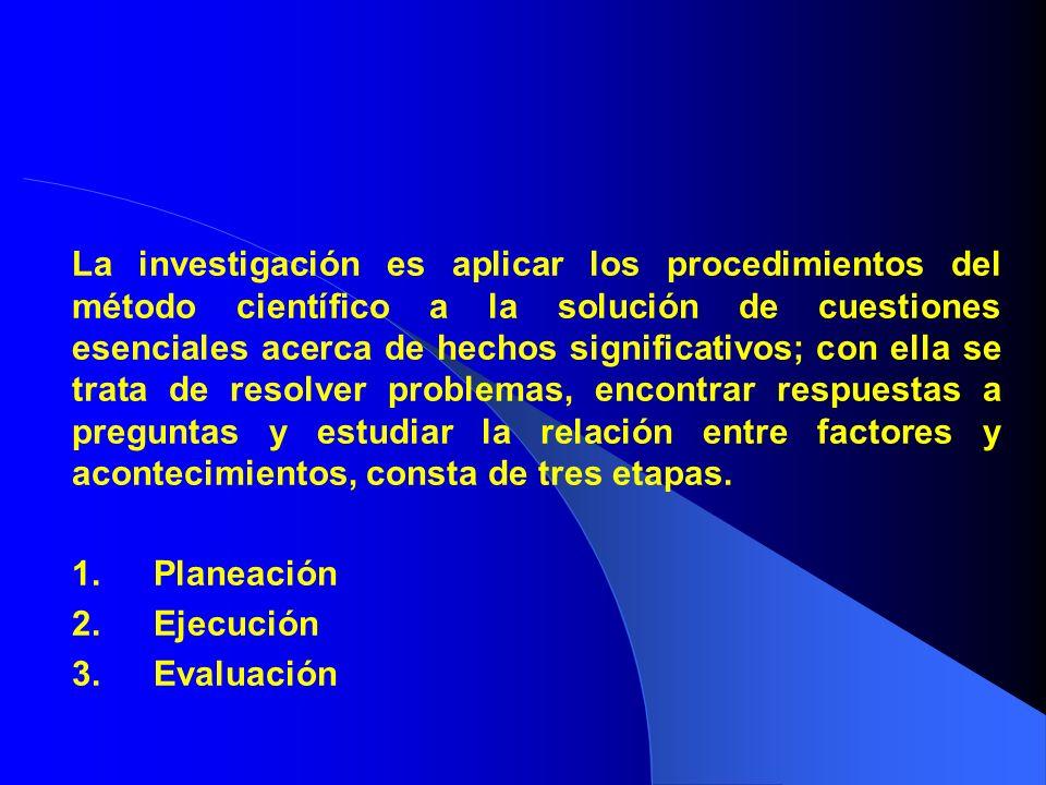 La investigación es aplicar los procedimientos del método científico a la solución de cuestiones esenciales acerca de hechos significativos; con ella