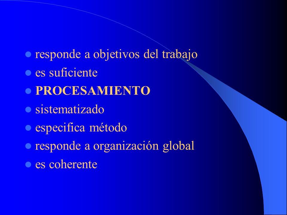 responde a objetivos del trabajo es suficiente PROCESAMIENTO sistematizado especifica método responde a organización global es coherente