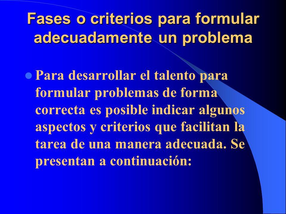 Fases o criterios para formular adecuadamente un problema Para desarrollar el talento para formular problemas de forma correcta es posible indicar alg