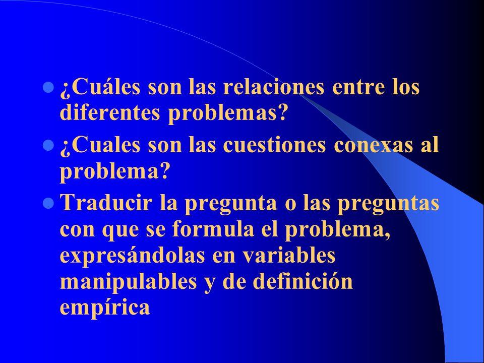 ¿Cuáles son las relaciones entre los diferentes problemas? ¿Cuales son las cuestiones conexas al problema? Traducir la pregunta o las preguntas con qu