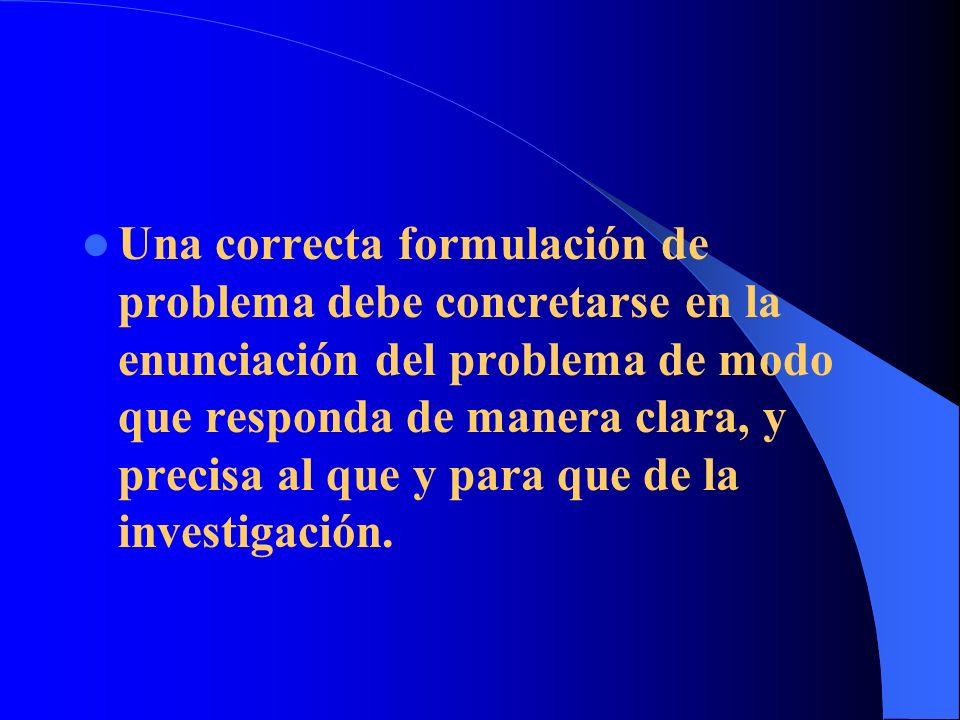 Una correcta formulación de problema debe concretarse en la enunciación del problema de modo que responda de manera clara, y precisa al que y para que