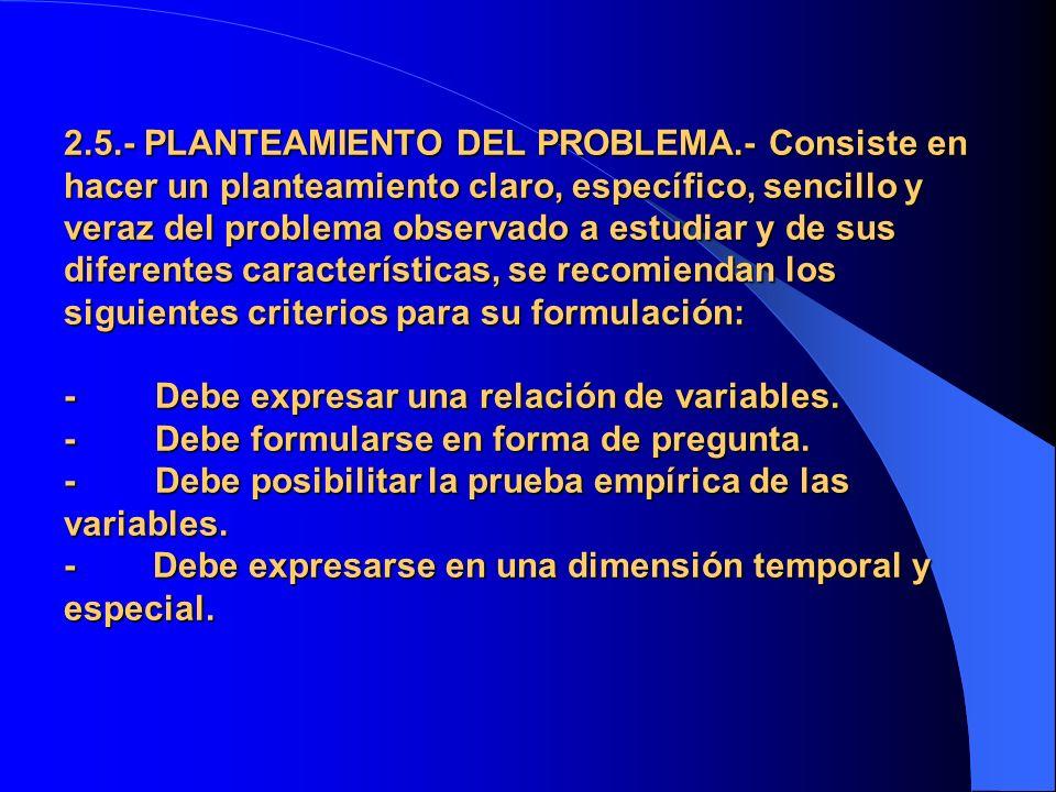 2.5.- PLANTEAMIENTO DEL PROBLEMA.- Consiste en hacer un planteamiento claro, específico, sencillo y veraz del problema observado a estudiar y de sus d