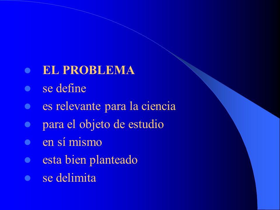 EL PROBLEMA se define es relevante para la ciencia para el objeto de estudio en sí mismo esta bien planteado se delimita