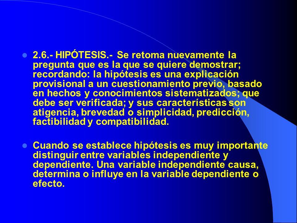 2.7.- CONSECUENCIAS VERIFICABLES DE HIPÓTESIS.- Este paso consiste en hacer operable, práctica la hipótesis, a partir de sus variables independientes y dependientes.