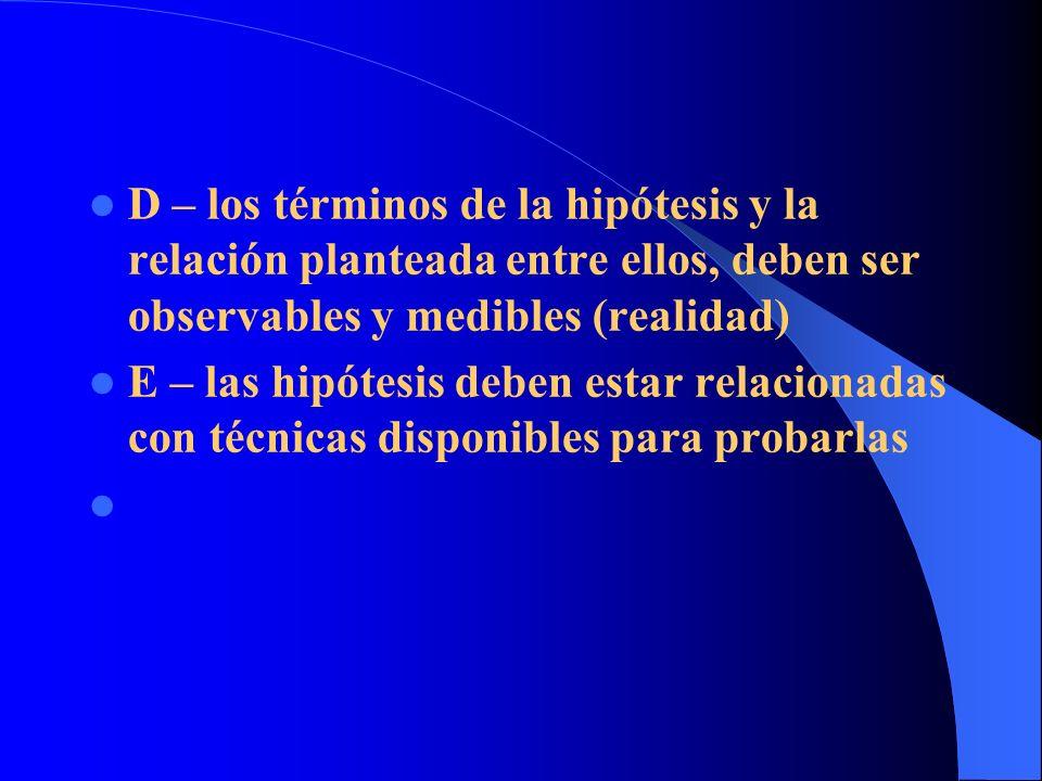 D – los términos de la hipótesis y la relación planteada entre ellos, deben ser observables y medibles (realidad) E – las hipótesis deben estar relaci