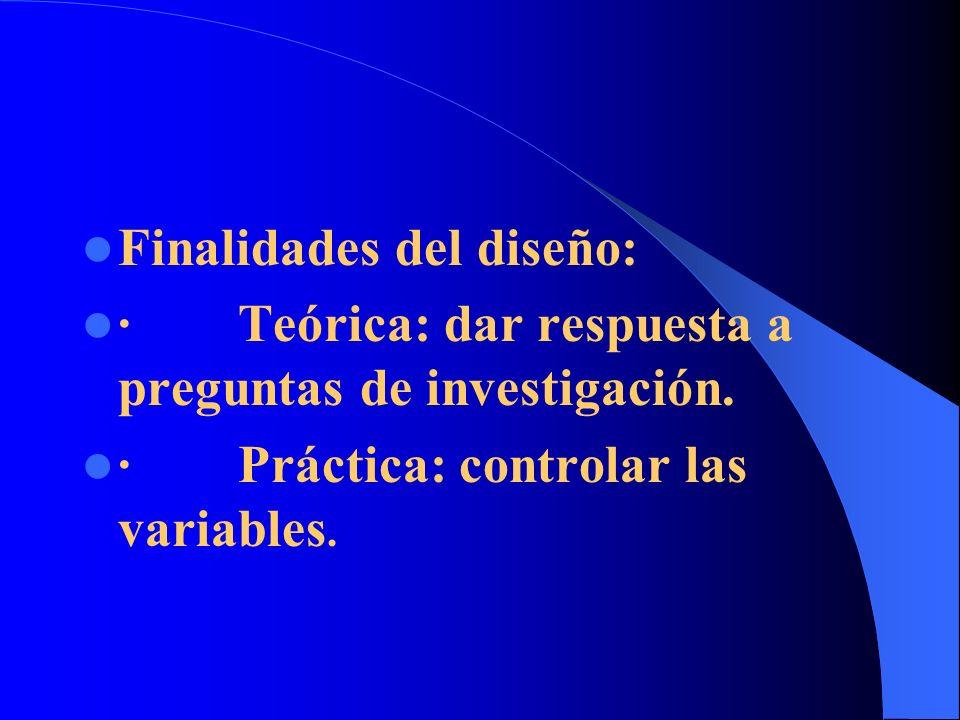 Finalidades del diseño: · Teórica: dar respuesta a preguntas de investigación. · Práctica: controlar las variables.